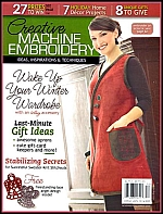 The cover of Creative Machine Embroidery magazine - click to view larger