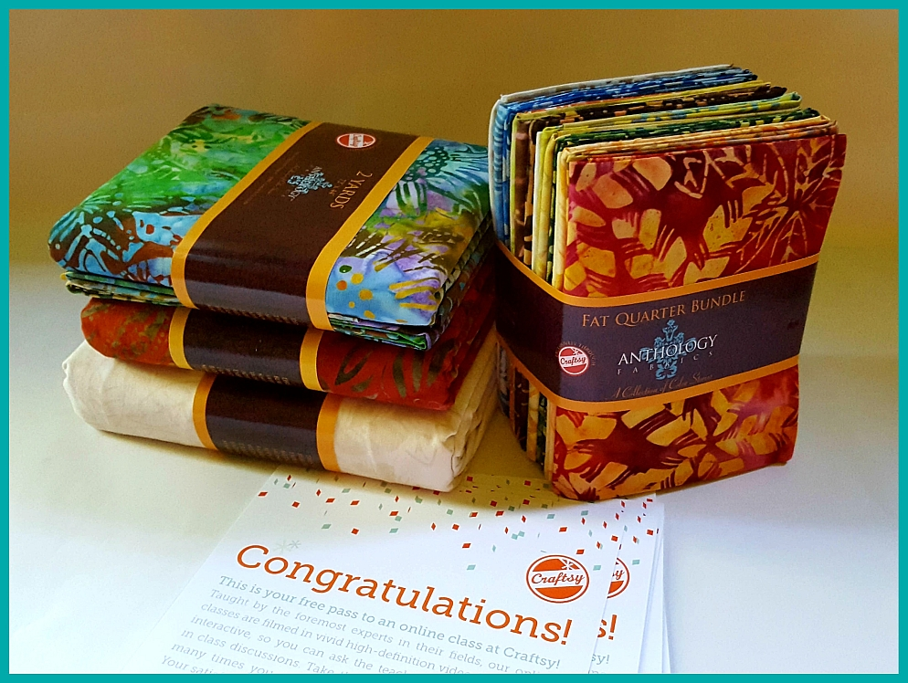 4 packets of yardage with 4 complimentary Craftsy class certificates