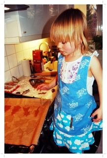 Maija baking gingerbreads at Christmas time