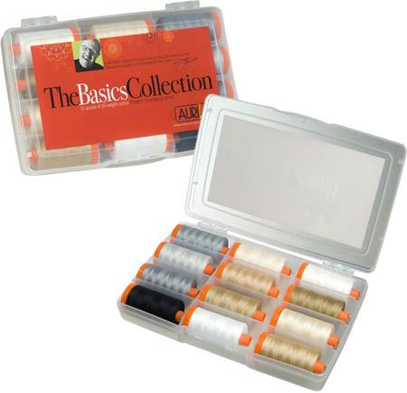 "1 – Mark Lipinski's Basics Collection Aurifil thread kit, containing 12 ""Basics"" colors of 50 weight cotton thread"