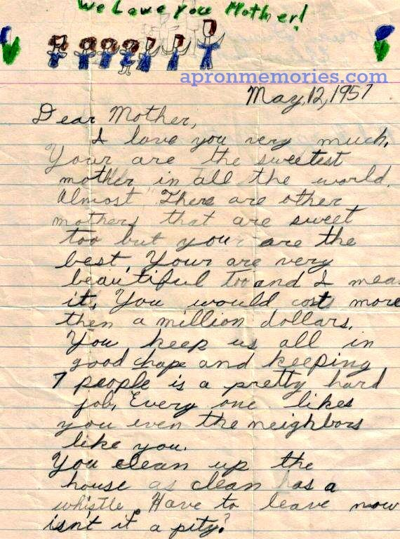 Mother's Day letter to Mama 1957 www
