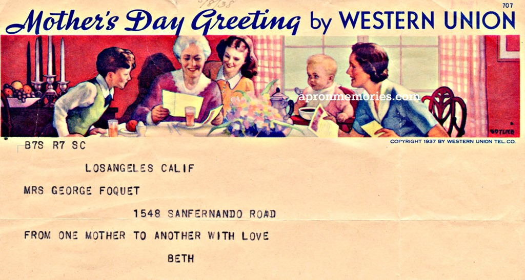 Mothers Day telegram 1938 www