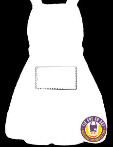 "Draw the outline of an apron on cardstock, outlining a pocket for guests to ""fill"""